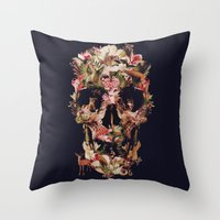 jungle Throw Pillows featuring Jungle Skull by Ali GULEC