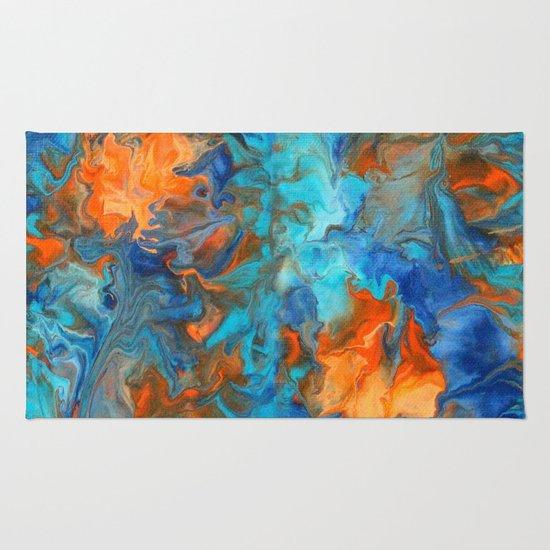 Orange And Teal Rug By Liz Moran