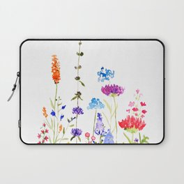 colorful wild flowers watercolor painting Laptop Sleeve
