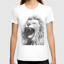 Black White Fierce Lion T-shirt