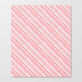 Pink, white diagonal stripes. Canvas Print