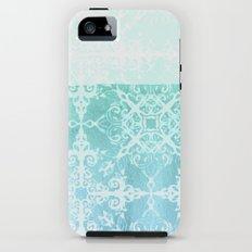 Mermaid's Lace - White Patterned Aqua / Mint Watercolor Wash iPhone (5, 5s) Tough Case