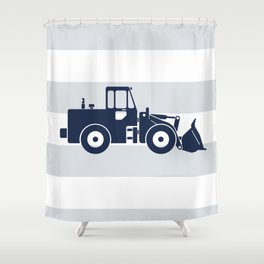 Navy Bulldozer Shower Curtain