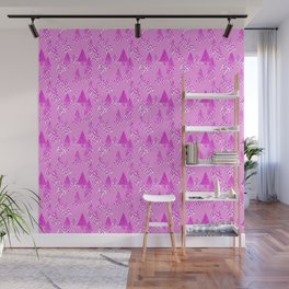 Modern Flower Christmas Trees, Orchid Pink Wall Mural