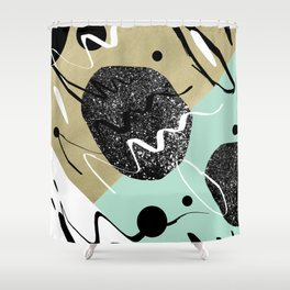 Gold Mint Black White Abstract Glam #1 #trendy #decor #art #society6 Shower Curtain