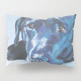 Black Lab LABRADOR RETRIEVER dog portrait painting by L.A.Shepard fine art Pillow Sham