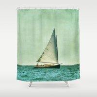 cape cod Shower Curtains featuring sailing cape cod seas by marie grady palcic