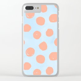 Sweet Life Dots Peach Coral Pink + Blue Raspberry Clear iPhone Case