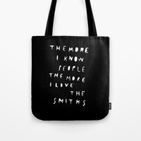the smiths Tote Bags featuring THE SMITHS by WASTED RITA