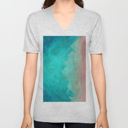 Sunset Over Lagoon Abstract Painting Unisex V-Neck