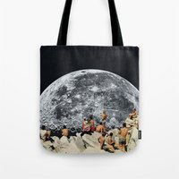 constellation Tote Bags featuring MOONRISE  by Beth Hoeckel