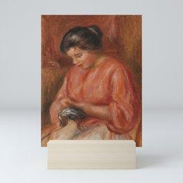 Girl Darning Mini Art Print
