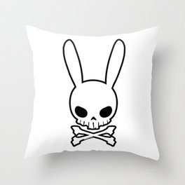 Skull Bunny Throw Pillow