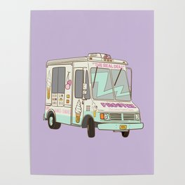 NYC Icecream Truck Lila Poster