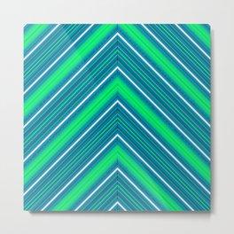 Modern Diagonal Chevron Stripes in Shades of Blue and Green Metal Print