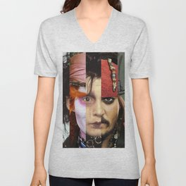 Faces Johnny Depp Unisex V-Neck