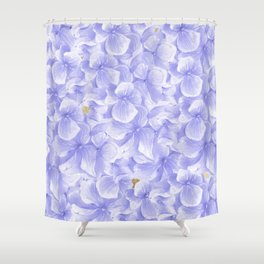 Elegant lavender white faux gold watercolor hydrangea flowers Shower Curtain