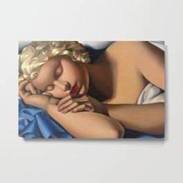 The Sleeping Girl (Kizette) still life portrait by Tamara de Lempicka Metal Print