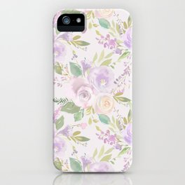 Blush lavender green watercolor hand painted floral iPhone Case