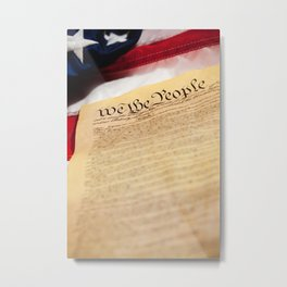 "Constitution: Tight Focus on ""We the People"" Metal Print"