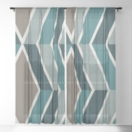 Mid Century Modern Diagonal Stripes Teal and Gold Sheer Curtain
