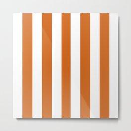 Cinnamon[citation needed] orange - solid color - white vertical lines pattern Metal Print