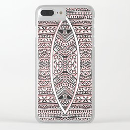 Doodled Tribals in Red & Black Clear iPhone Case