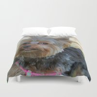 yorkie Duvet Covers featuring Little Yorkie by IowaShots