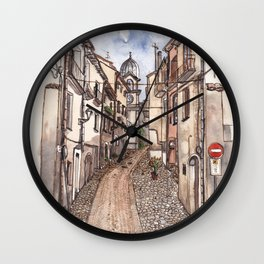 Street view of Corso Carmine Cerisano on the south of Italy Wall Clock