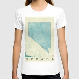 Nevada State Map Blue Vintage T-shirt