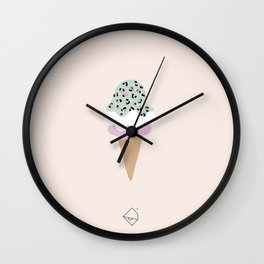 Leopard Ice Cream cone animal print summer trend girls pink peach Wall Clock