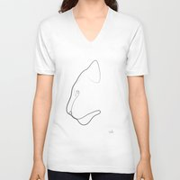 quibe V-neck T-shirts featuring Oneline Tiger by quibe