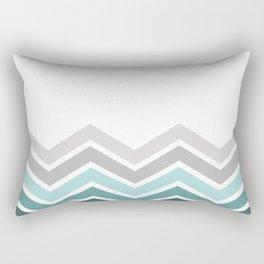 WHITE/ TEAL CHEVRON FADE Rectangular Pillow