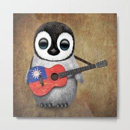 Baby Penguin Playing Taiwanese Flag Guitar Metal Print
