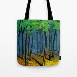Sunset light in the forest Tote Bag