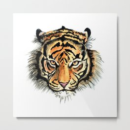 Tiger head watercolor Metal Print