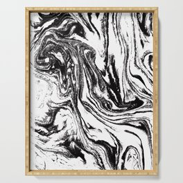 black and white marble watercolor painting canvas art decor Serving Tray