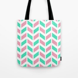 Menthol green, pink and white chevron pattern Tote Bag