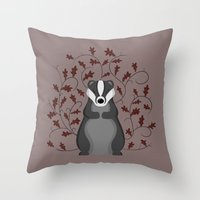 badger Throw Pillows featuring Badger by Sophie Mitchell