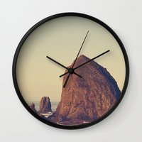 oregon Wall Clocks featuring Oregon Ocean by Kurt Rahn