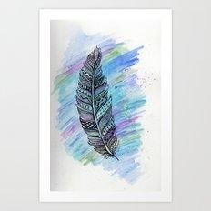 zentangle doodle watercolor feather Art Print