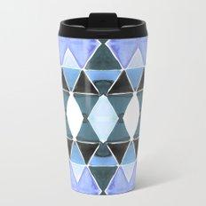 Art Deco Triangles Light Blue Metal Travel Mug