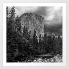 Yosemite National Park, El Capitan, Black and White Photography, Outdoors, Landscape, National Parks Art Print