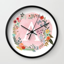 Flower Wreath with Personalized Monogram Initial Letter A on Pink Watercolor Paper Texture Artwork Wall Clock