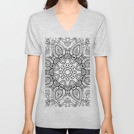 White Gray Black Paisley Mandala Unisex V-Neck