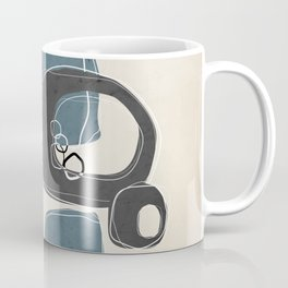 Retro Abstract Design in Charcoal Grey and Teal Coffee Mug