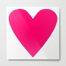 Neon Pink Heart Metal Print