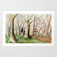 middle earth Art Prints featuring Middle Earth by Jeff Moser Watercolorist