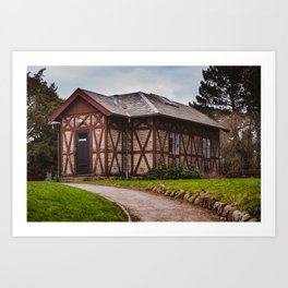 the cottage, a small house on the hill surrounded by greenery Art Print