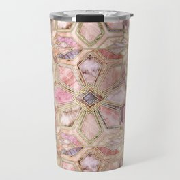 Geometric Gilded Stone Tiles in Blush Pink, Peach and Coral Travel Mug